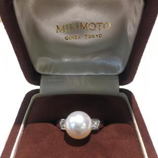 ミキモト(MIKIMOTO)の【極美品】ミキモト 9.4mm アコヤ パール ダイヤモンド リング Pt950(リング(指輪))