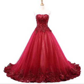 e71fcb0296716 エメ(AIMER)のウェディングドレス 赤 ワインレッド カラードレス(ウェディングドレス)