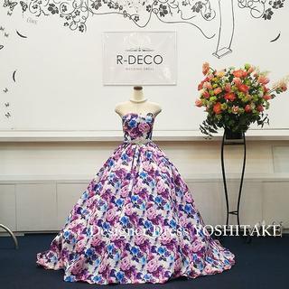 ウエディングドレス(パニエ無料サービス) パープル花柄 二次会/披露宴(ウェディングドレス)