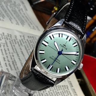 フォルティス(FORTIS)の80's Vint. FORTIS 手巻きメンズウォッチ OH済み グリーン(腕時計(アナログ))