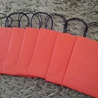 ミニ紙袋6枚オレンジ(カード/レター/ラッピング)