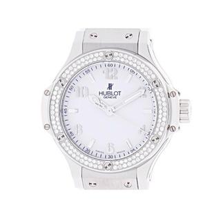ウブロ(HUBLOT)のHUBLOT クオーツ ビッグバン ダイヤベゼル SS/ラバー ホワイト (腕時計)