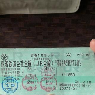 ジェイアール(JR)の青春18きっぷ【1日分】(鉄道乗車券)