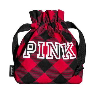 ヴィクトリアズシークレット(Victoria's Secret)の新品 ヴィクトリアシークレット ミニ巾着 ポーチ 赤チェック柄 PINK dog(ポーチ)