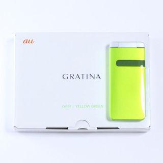 キョウセラ(京セラ)の新品 au GRATINA イエローグリーン 液晶保護フィルム付(携帯電話本体)