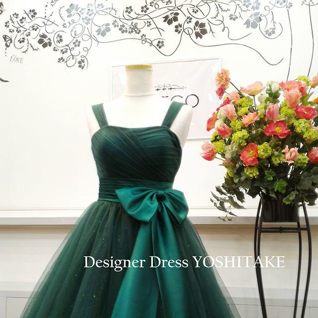 演奏会ドレス(Aラインパニエ無料サービス) グリーンカラー スカートキラキラ レディースのフォーマル/ドレス(ロングドレス)の商品写真
