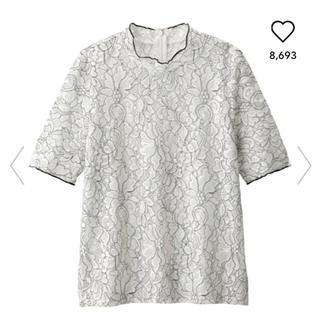 ジーユー(GU)のよう様専用 GU レースフリルネックT(半袖)GR(シャツ/ブラウス(半袖/袖なし))