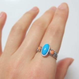9.5号(小)★ターコイズ&スパイニーオイスターリング 新品 SV925 天然石(リング(指輪))