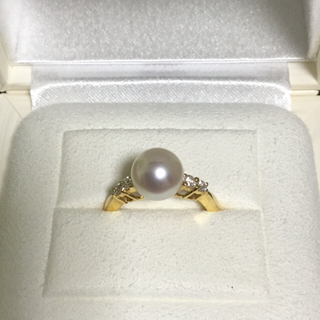 ミキモト(MIKIMOTO)の【美品】ミキモトダイヤ付きパールリング 指輪 9.5号k18約8mm(リング(指輪))