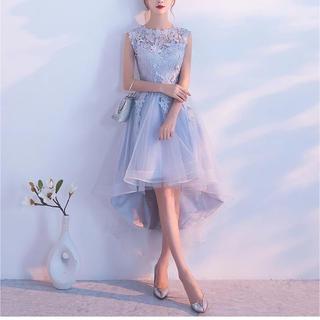刺繍 花柄ドレス 結婚式パーティーワンピース ノースリーブ フィッシュテール(その他ドレス)