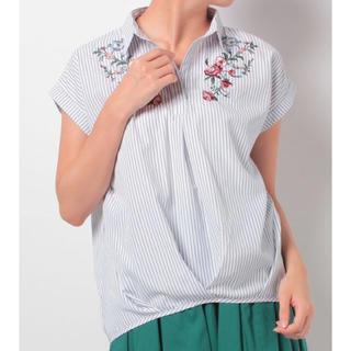 マジェスティックレゴン(MAJESTIC LEGON)のMAJESTIC LEGON 花柄刺繍スキッパーブラウス(シャツ/ブラウス(半袖/袖なし))