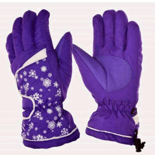 新品☆レディース スノーグローブ 手袋 スキー スノーボード 雪の結晶 パープル(ウエア/装備)