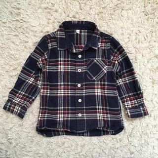 ムジルシリョウヒン(MUJI (無印良品))の無印良品 オーガニックコットンフランネルチェックシャツ 100 ネイビー(ブラウス)
