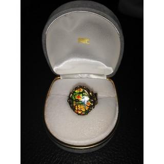 カナダ産 アンモライト オパール 指輪 フリーサイズ(リング(指輪))