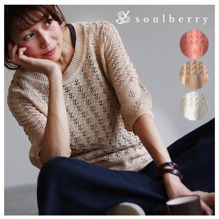 ソルベリー(Solberry)の【新品未使用】soulberry 透かし編み サマーニットプルオーバー ベージュ(カットソー(半袖/袖なし))