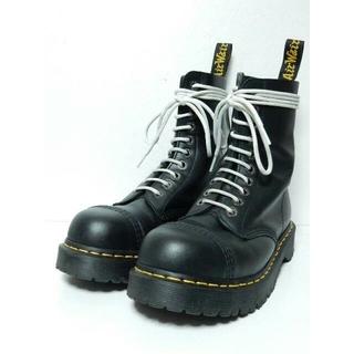 ドクターマーチン(Dr.Martens)の美品!厚底&スチールトゥドクターマーチンUK6クレイジーボムBXBブーツ黒(ブーツ)