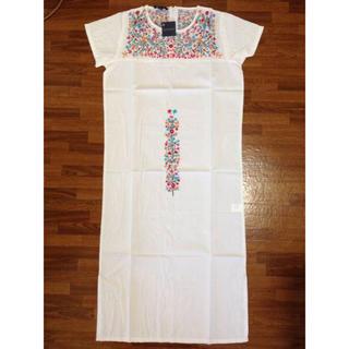 アンティックバティック(Antik batik)の●ANTIK BATIK●MEXICO 刺繍ワンピース WHITE M(ひざ丈ワンピース)