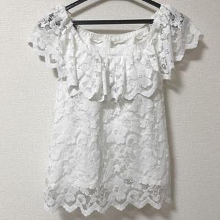 ジーユー(GU)のGU♡ 2way フリルレーストップス(シャツ/ブラウス(半袖/袖なし))