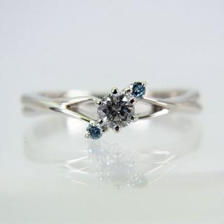 Pt900 ダイヤモンド ブルーダイヤ リング 9号[f135-1](リング(指輪))