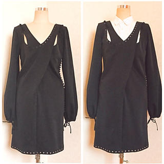 オッサモンド(OSSA MONDO)の美品★OSSA MONDO オッサモンド / ブラック ワンピース ドレス(ひざ丈ワンピース)