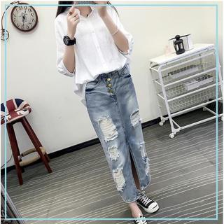 ジーユー(GU)のロンスカ 春 コーデ☆彡大人気 ダメージ デニム スカート M(ロングスカート)