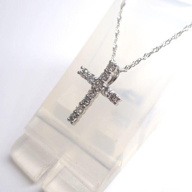 ■マルヨ質舗■Pt900/850■十字架ダイヤモンドプラチナネックレス■ レディースのアクセサリー(ネックレス)の商品写真