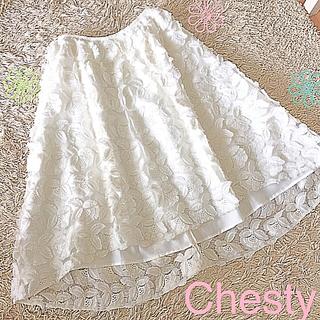 チェスティ(Chesty)のChesty フラワー刺繍レーススカート S〜XS(ひざ丈スカート)