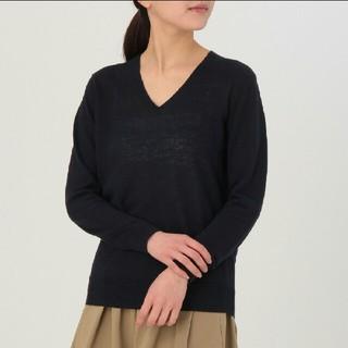 ムジルシリョウヒン(MUJI (無印良品))の◆新品◆ 無印良品フレンチリネンuvカットVネックセーター/ネイビー/XL(ニット/セーター)