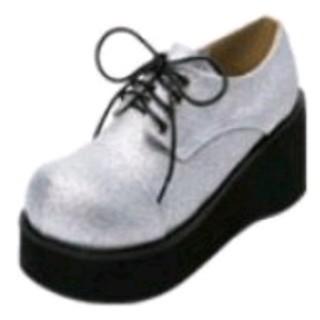 ✼新品おでこ靴✼25・5㌢ 8㌢ヒール シルバーグリッター(ハイヒール/パンプス)