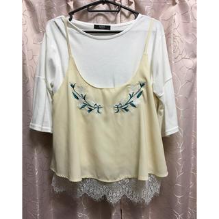 シマムラ(しまむら)のキャミ、TシャツセットWHT(Tシャツ(半袖/袖なし))