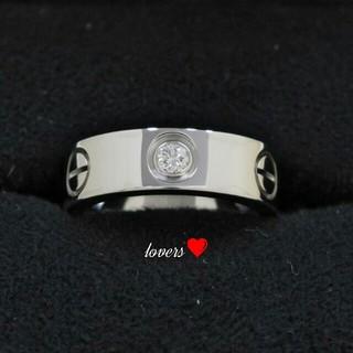 送料無料 13号 シルバーサージカルステンレス スーパーCZ ラブ リング 指輪(リング(指輪))