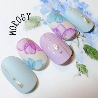 水彩紫陽花ネイル☆MOROSY23