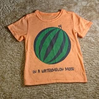 プティマイン(petit main)のプティマイン☆スイカ柄Tシャツ☆オレンジ(Tシャツ/カットソー)
