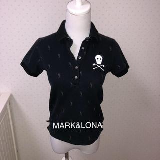 マークアンドロナ(MARK&LONA)のMARK&LONAマークアンドロナ/黒ポロシャツSレディースゴルフウェア(ウエア)