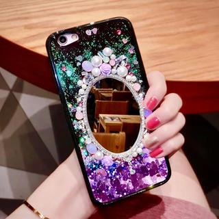 ☆★☆キラキラ ラメが流れる 鏡付きiPhone ケース スタンド付☆★☆(iPhoneケース)