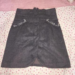 バイバイ(ByeBye)のウールのビジュー付き台形スカート(ミニスカート)