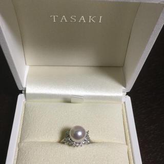 タサキ(TASAKI)の【超美品】田崎/TASAKIダイヤ付き8.2mmパールリング 7号0.45ct(リング(指輪))