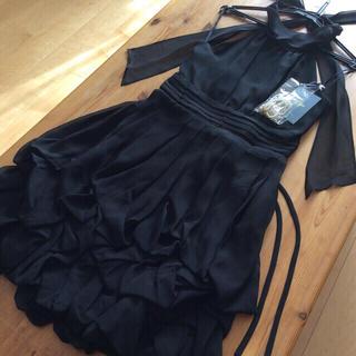 リュリュ(RyuRyu)の【美品、新品、未使用】フォーマルバルーンドレス ブラック 送料込(ミディアムドレス)