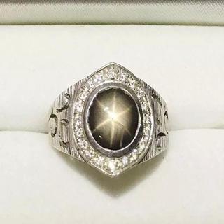K18WGリング ブラックスターサファイア (リング(指輪))