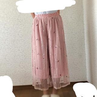 シマムラ(しまむら)の花柄 刺繍ガウチョパンツ**春 ピンク(その他)