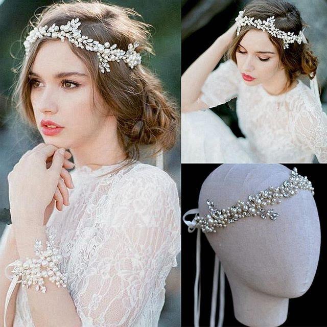パール×ビジューのヘッドドレス(カチューム)♡リーフモチーフ♡ レディースのフォーマル/ドレス(ウェディングドレス)の商品写真
