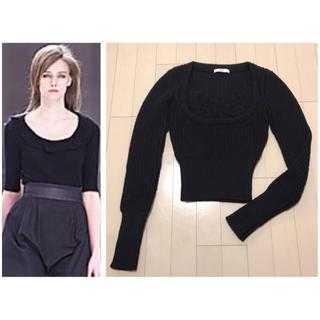 プラダ(PRADA)の本物 美品 プラダ フリルデザイン ウール100% ニット セーター 40 黒(ニット/セーター)