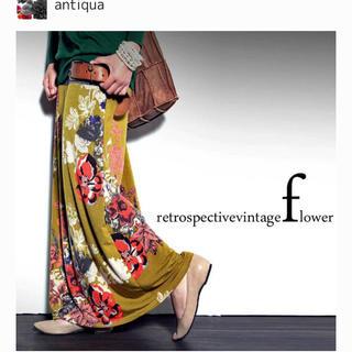 アンティカ(antiqua)の花柄 アンティーク  レトロ 2way ロングスカート(ロングスカート)