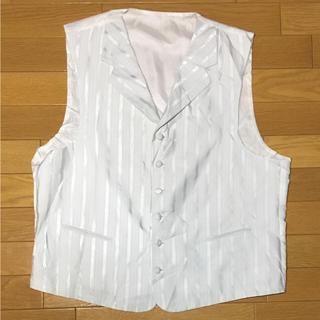 ホワイト★白 ストライプ 襟付き スーツベスト  メンズ XXL相当 213(スーツベスト)