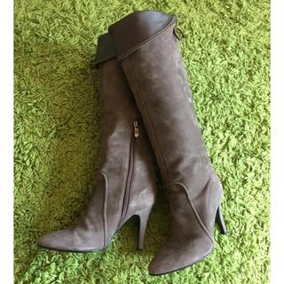 ダイアナ(DIANA)のDIANA ダイアナ ロングブーツ グレージュ 2way スエード 21,5cm(ブーツ)