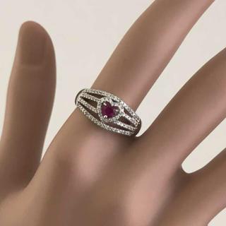 7676 pt900  ルビー ダイヤモンド  リング 指輪 ハート(リング(指輪))