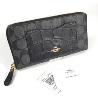 コーチ(COACH)のコーチ シグネチャー クロコダイル 長財布 F26300 ブラック 新品(財布)