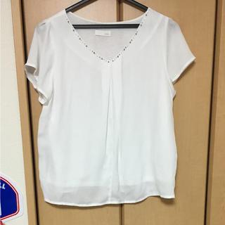 インデックス(INDEX)の白 Vネックビジュートップス(カットソー(半袖/袖なし))