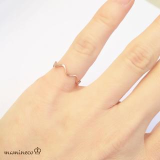 1号サイズ ステンレス製 ピンクゴールド華奢波形リング 指輪(リング(指輪))