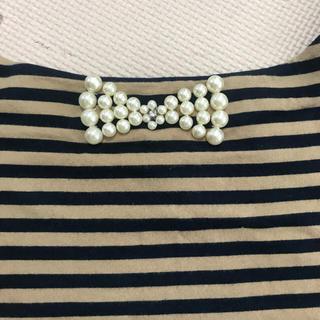 ボンメルスリー(Bon merceie)のBon mercerie バック パールリボンのボーダーTシャツ アナトリエ (カットソー(半袖/袖なし))